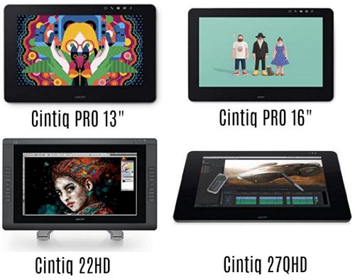 Confronto tra Cintiq 27QHD 22HD Cintiq Pro